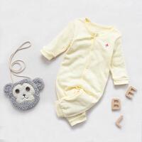 婴儿连体衣服0岁3个月6宝宝新生儿冬季冬装潮款童内衣睡衣