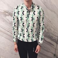 新款印花衬衫男长袖外套秋季V领修身衬衣英伦发型师夜店寸衫