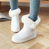 韩版白色短靴女韩版秋冬儿童雪地靴小女孩公主女童靴子童鞋女