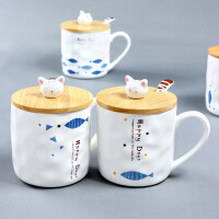 水杯家用带盖带勺儿童马克杯可爱杯子陶瓷杯随手杯卡通咖啡杯套