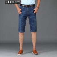 JEEP吉普牛仔短裤男牛仔五分裤2018夏季薄款男士直筒修身蓝色牛仔中裤马裤