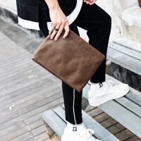 街头时尚手拿包韩版男士手包IPAD文件包皮男包商务手抓信封包 深卡其色 关注店铺-*品