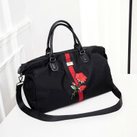 新款旅行包女手提韩版短途防水行李袋大容量轻便简约潮旅游包男健身包 玫瑰花 大