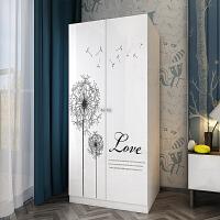 简易木质板式两门烤漆衣柜卧室经济型简约现代门衣橱 2门 组装