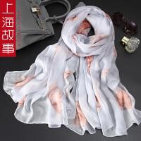 上海故事自留款100%桑蚕丝数码喷绘丝巾女款春秋冬虞美人长款围巾