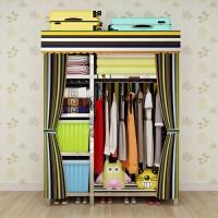衣柜简易不锈钢折叠螺丝组装衣柜拉链涤棉布艺出租房经济型衣柜 单门 组装