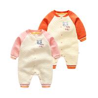 女婴儿秋装衣服6个月男宝宝哈衣新生儿睡衣连体衣秋冬装