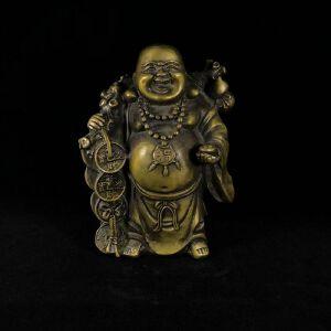 弥勒佛背黄金袋 精品铜摆件