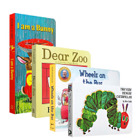 英文原版正版绘本I am a bunny Dear Zoo 动物园wheels on the bus The Very Hungry Caterpillar饥饿毛毛虫早教纸板4书套装 送音频