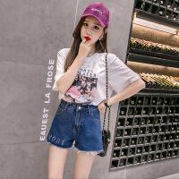 夏季女装韩版个性气眼腰带高腰水洗毛边牛仔短裤学生休闲热裤女潮 蓝色