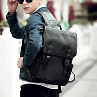 新款韩版高中生书包男时尚潮流运动皮包双肩包青少年背包女旅行包 休闲黑色+质量三包+30天退换