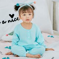 夏季女童儿童睡衣棉绸色男童宝宝小孩绵绸薄款公主防蚊灯笼套装