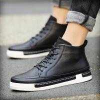 CUM 冬天男士高帮鞋马丁靴皮鞋短靴子休闲鞋潮流棉鞋英伦中帮男鞋
