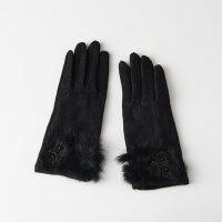 防滑羊毛手套秋冬防寒保暖蕾丝加厚女士可触摸屏手套开车