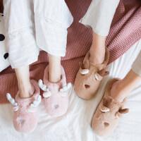 居家情侣拖鞋月子鞋韩版卡通可爱棉拖鞋女冬半包跟毛拖鞋