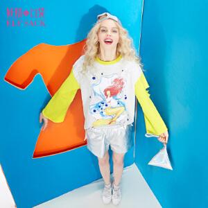 【每满150减50】妖精的口袋海的传说春秋装新款宽松破洞套头卫衣女中长款