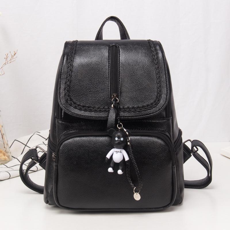 包包新款背包女士双肩包韩版潮时尚个性百搭软皮休闲简约书包 黑色花边 送暴力熊挂件