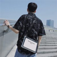 衬衫男 日系简约潮流印花薄款五分袖夏装宽松小清新短袖衬衣开衫
