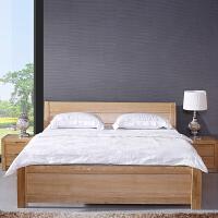 现代简约水曲柳实木床1.8米双人床卧室全实木家具