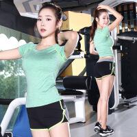 新款透气舒适瑜伽服套装短裤二件套舞蹈练功跑步健身服女瑜伽服两件套 41绿色+P28绿色