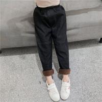 冬季黑色洋气休闲裤5岁儿童裤子女童加绒牛仔裤一体女孩