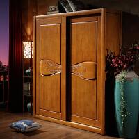 中式实木衣柜 两门推拉衣柜 橡胶木衣橱 小户型移门衣柜 2门