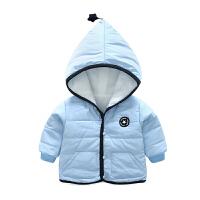 婴儿衣服女童外套秋冬装儿童新款中小童加绒男童宝宝休闲连帽棉衣
