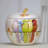 创意家居手绘装饰品苹果形储物罐彩陶工艺品客厅博古架装饰柜摆件