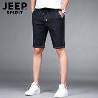 JEEP SPIRIT吉普时尚牛仔中裤夏装新款休闲短裤男士舒适弹力简约中腰五分裤男