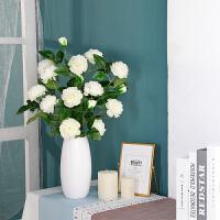 桌面装饰摆件干花家居插花带陶瓷花瓶仿真牡丹花花束假花客厅卧室
