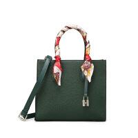 欧美时尚mk2018包包女新款女包手提包真皮锁头包单肩斜挎托特包潮 墨绿