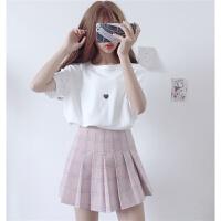 夏装女装韩版小清新百搭显瘦爱心图案短袖T恤学生宽松打底上衣女 均码