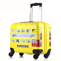 16寸儿童拉杆箱行李箱万向轮英国汽车款 黄色 16寸
