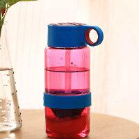 普润 儿童柠檬杯喝水便携榨汁杯儿童吸管杯便携塑料水杯子 (蓝盖玫红瓶)