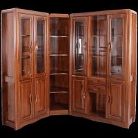 新中式实木书柜二门三门书柜转角书柜组合老榆木全实木家具