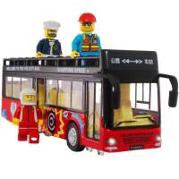 双层巴士公共汽车合金开门声光回力公交车男孩儿童玩具大巴车模型