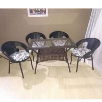 休闲藤椅五件套户外三件套茶桌阳台茶几塑料编织方形玻璃桌椅组合