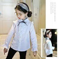 女童木耳边白衬衫小女孩3春季时尚花边袖休闲5岁儿童衬衣娃娃领潮