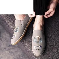 新款春季男士豆豆鞋韩版潮流中国风脸谱皮鞋一脚蹬懒人男鞋子