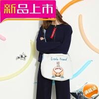 冬天校园小清新斜挎包 韩版大容量学生帆布包 简约单肩包包女