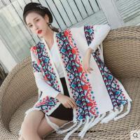 女波西米亚民族风围巾披肩加厚蝙蝠袖保暖流苏时尚百搭