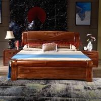 金丝檀木床全实木床1.8米双人床大床卧室家具现代中式高箱储物床