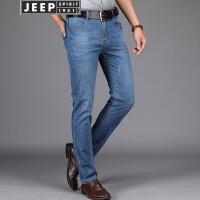 JEEP吉普牛仔裤男春夏薄款男士牛仔长裤子五袋牛仔裤男经典蓝色休闲牛仔裤男
