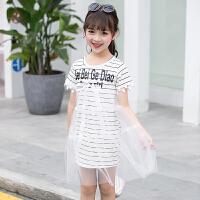 女童连衣裙夏2018新款中大童短袖公主裙条纹纱裙童装儿童裙子 白色 条纹纱裙