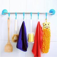 厨卫两用不锈钢杆6钩吸盘毛巾架 置物架 蓝色