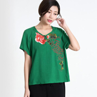 民族风女装夏T恤绣花圆领套头短袖大码中老年纯棉上衣中国风
