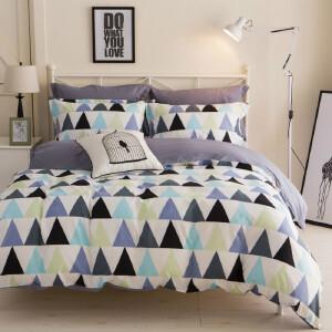 美式四件套三件套1.2/1.5/1.8床素色双拼纯色波点床上用品床单被套婚庆4件套