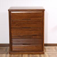 北欧风格家具 实木胡桃木三四五斗柜储物柜子 木质斗橱