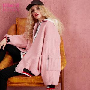 妖精的口袋撒哈拉雨季冬装新棒球服毛呢大衣外套女中长款