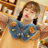 手套女冬天保暖挂脖加厚加绒仿颗粒羊绒时尚韩版软妹学生可爱卡通小熊